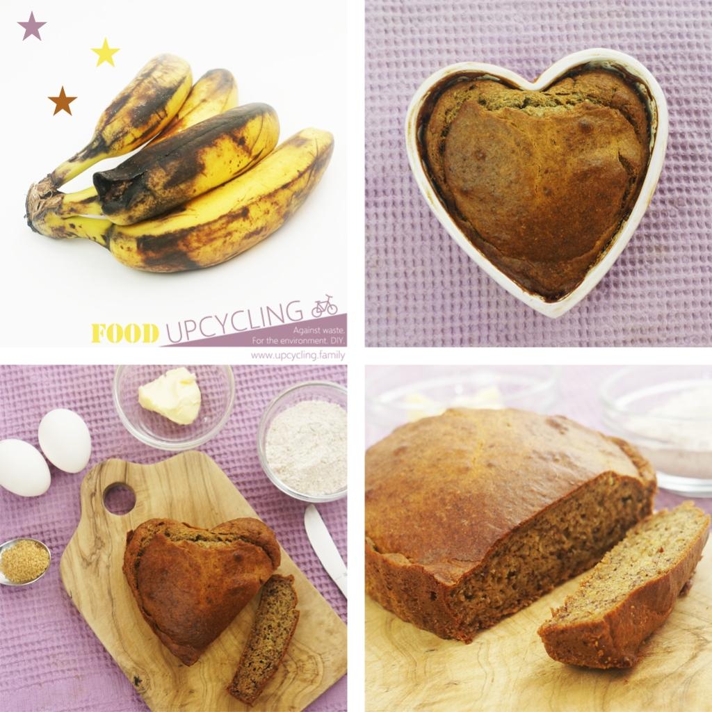 Hier siehst du eine Collage von braun gewordenen Bananen und dem Banana Bread, das ich daraus gebacken habe.