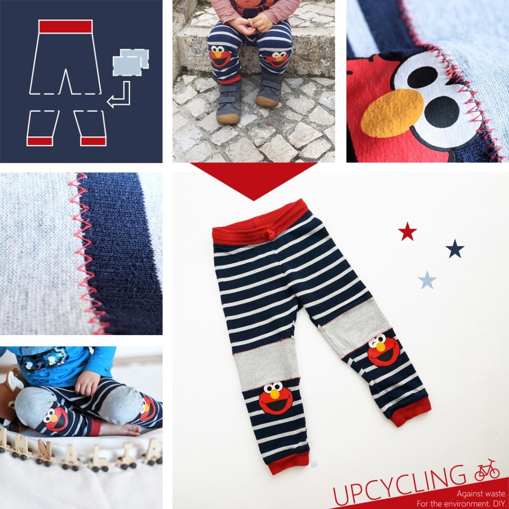 Hier siehst du eine Collage mit Bildern von der geflickten Hose.