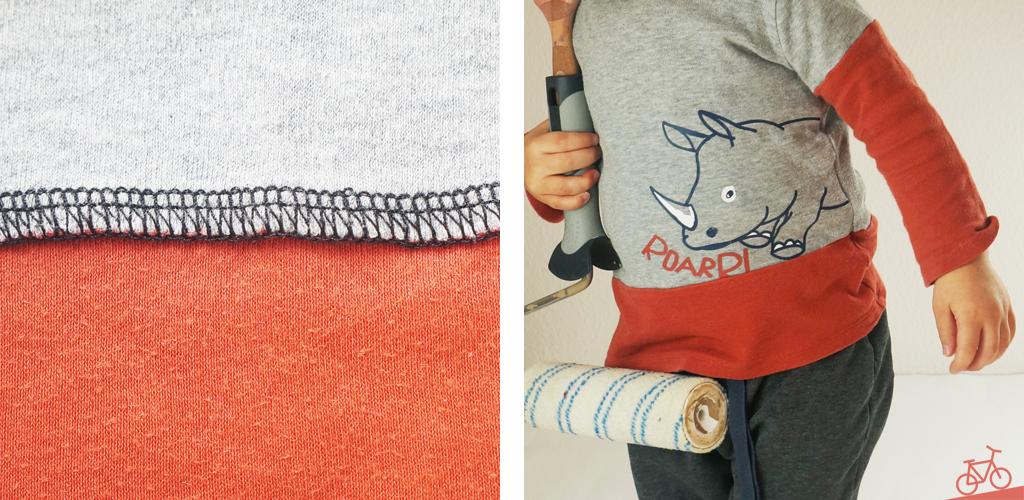Hier siehst du eine Nahaufnahme der Overlock-Naht und ein Kind, das den fertigen Pullover trägt.