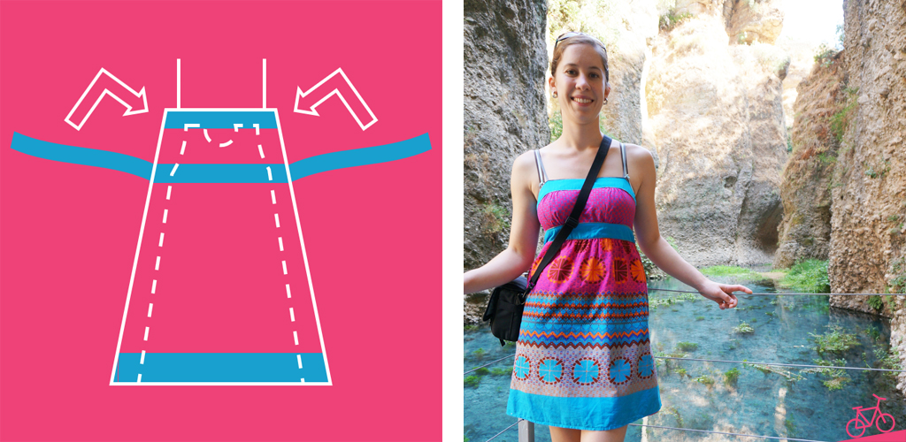 Hier siehst du das Kleid, wie es vorher aussah und wo es verändert wurde.