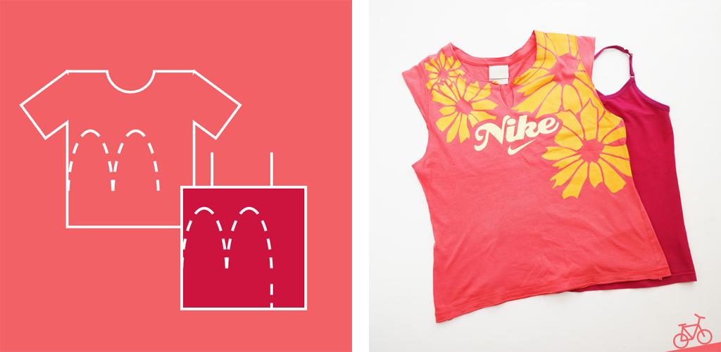 Hier siehst du eine schematische Darstellung des Nähprojekts und die Ausgangs-T-Shirts.