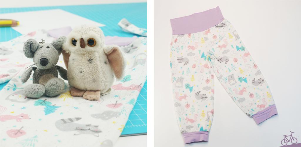 Hier siehst du eine Maus und eine Eule, die bei der neuen Schlafanzughose sitzen.