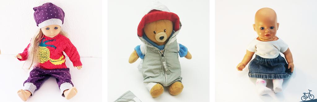 Hier siehst du eine Collage mit einem Puppenrock, einer Puppe mit passender Hose und Mütze, sowie einem Teddybär, der einen Sportanzug trägt.