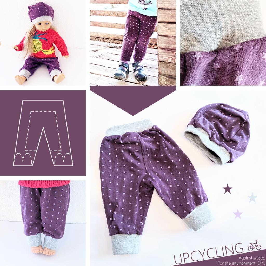 Eine Collage aus Bildern zu dem Blogbeitrag Puppenhose und Puppenmütze nähen