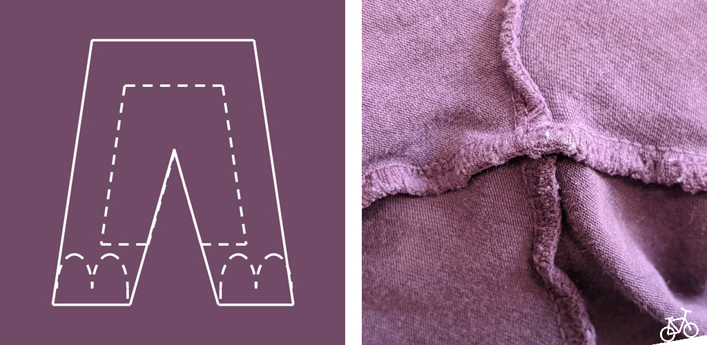 Hier siehst du schematisch, wie der Stoff aus der alten Leggings ausgeschnitten wird und welche Nähte der Hose behalten werden.
