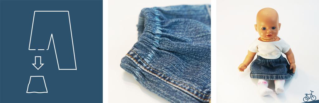 Hier siehst du, wie aus dem Hosenbein ein Jeansrock für die Puppe genäht wurde.