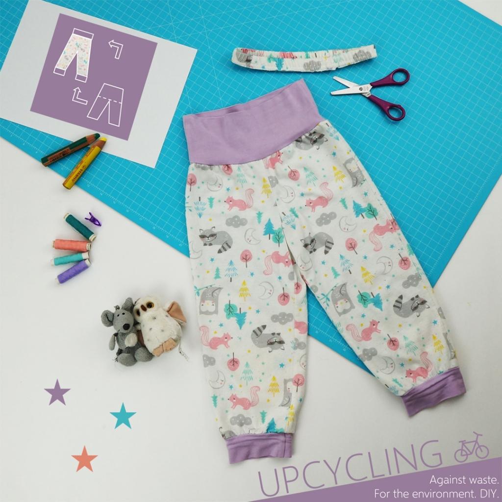 Hier siehst du eine Schlafanzughose mit passenden Nähutensilien.