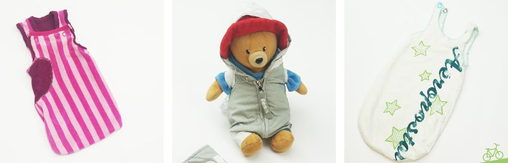 Puppenschlafsäcke und Teddybär im Sportanzug