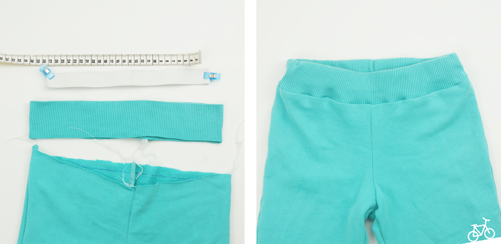 Hier siehst du die Hose vor und nach dem Einnähen des Gummis.