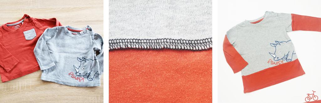 Lagen-Langarmshirt aus zwei alten Pullis