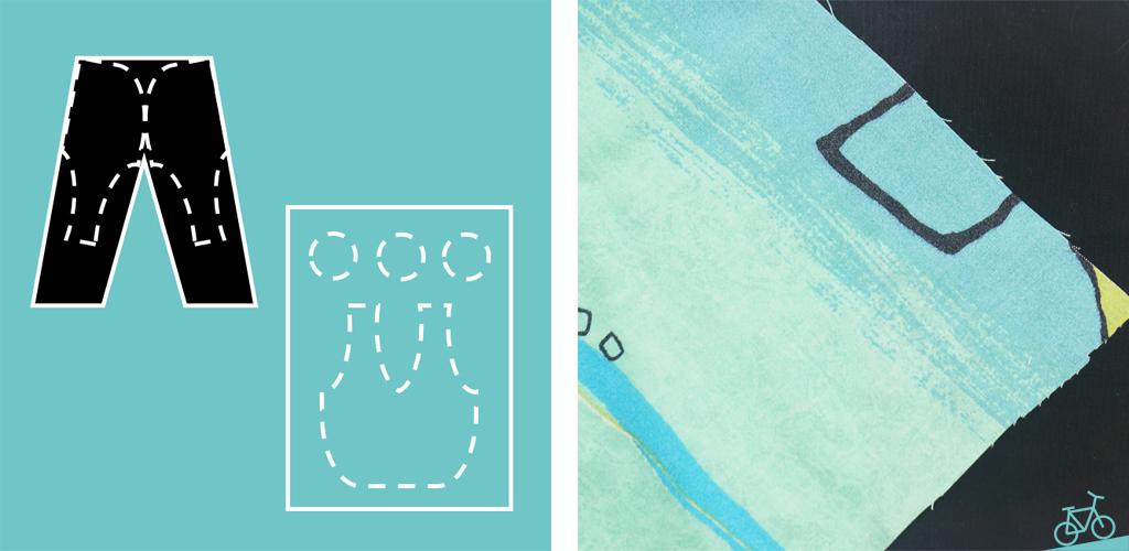 Hier siehst du eine schematische Darstellung von Jeans und Bettwäsche und die Stoffe.