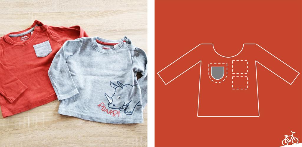 Zwei Kinderpullis in rot und grau sowie ein Schema, welche Teile für die Hose verwendet wurden.