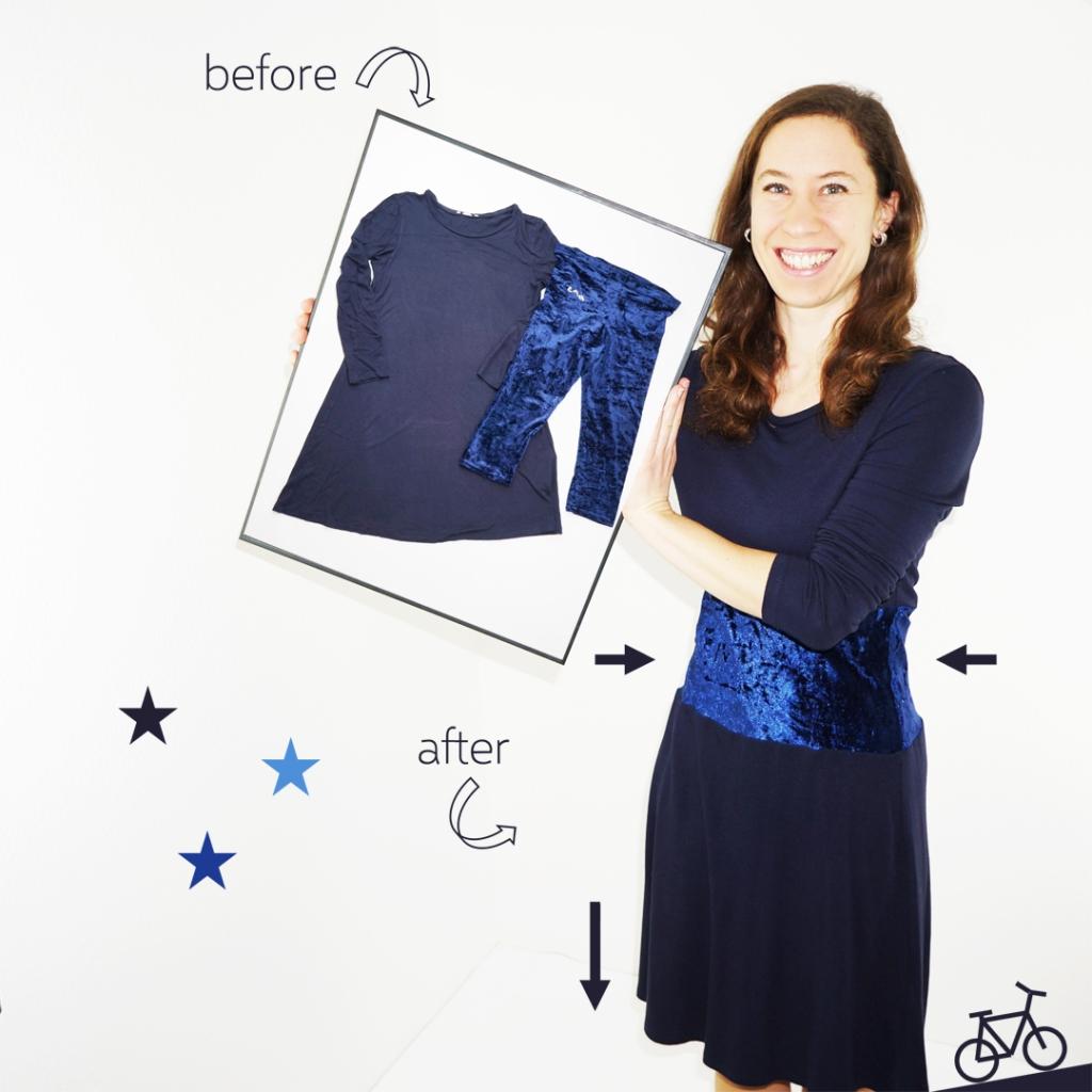 Hier siehst du mich, wie ich ein Bild der vorherigen Stücke halte und das fertige Kleid trage.