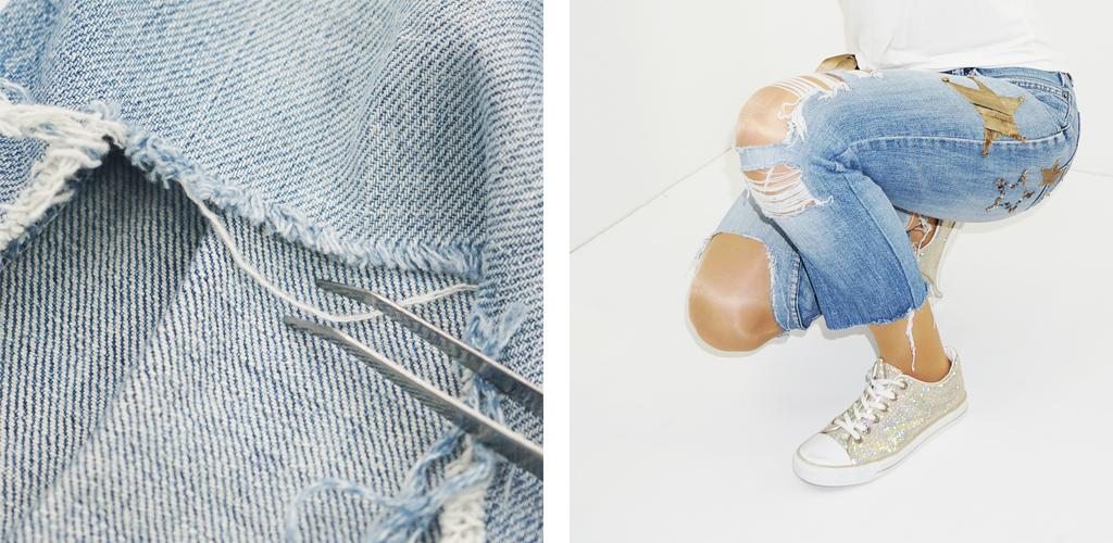 Destroyed Jeans mit großen Löchern selbst herstellen