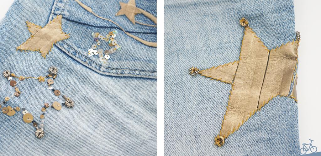 Applikationen auf Destroyed Jeans aus Perlen, Pailletten und Lederband