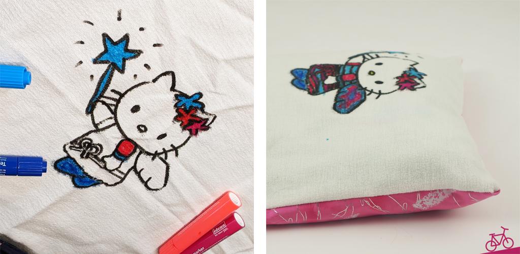 Hier siehst du ein Hello Kitty Bild auf einem Stoff, das später als Kissenbezug verwendet wird.