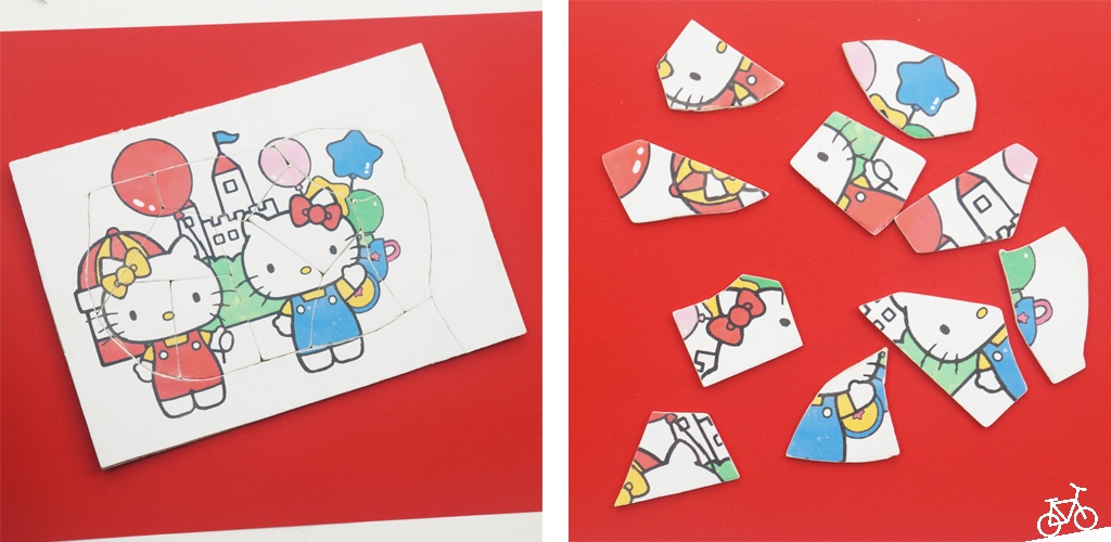 Hello Kitty Bild mit Burg auf einem selbst gebastelten Puzzle.