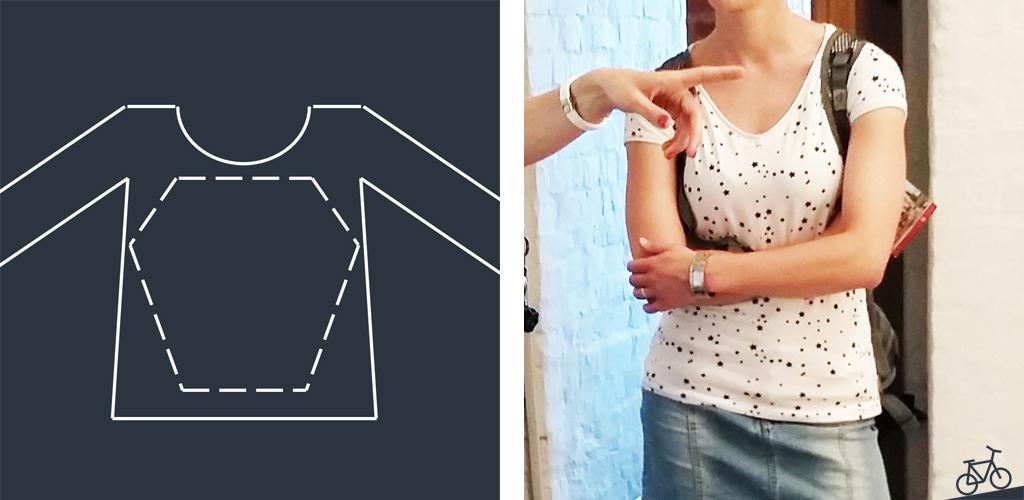 Hier siehst du eine schematische Darstellung des blauen Shirts und ein Foto, auf dem ich das Sternchen-T-Shirt trage.