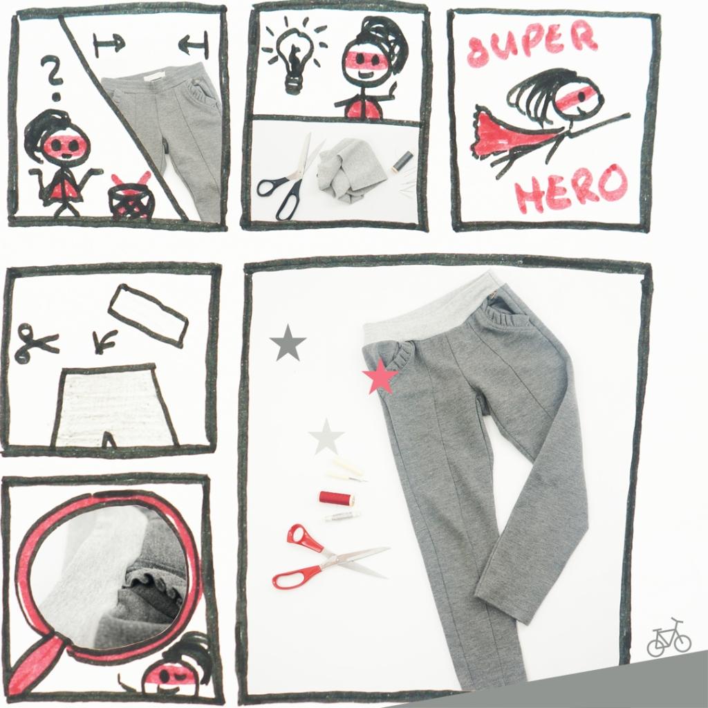 Hier siehst du einen Comic darüber, wie ich den Bund an einer ausgeleiherten Leggings austausche.