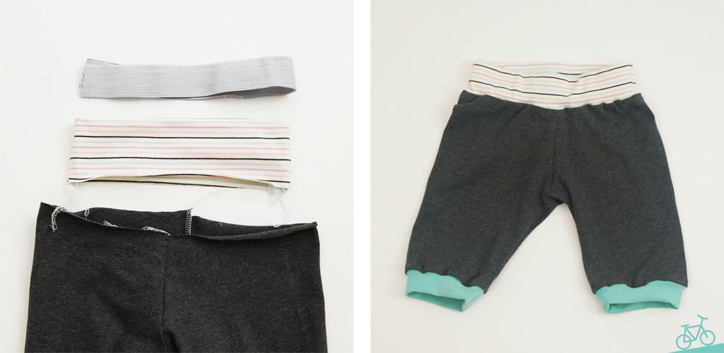 Hier siehst du die Hose bevor und nachdem sie zusammengenäht wurde.
