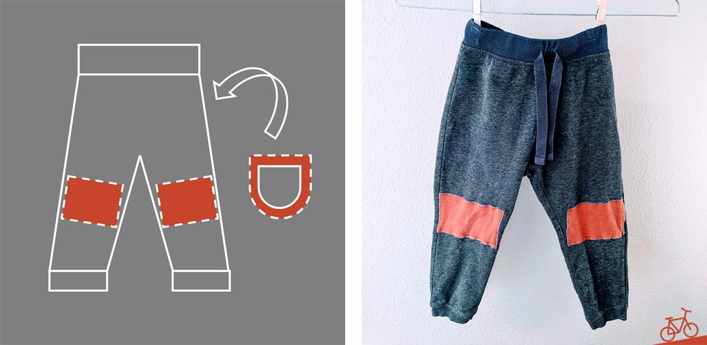 Hier siehst du eine schematische Darstellung der Flickenpositionen und die fertige Hose.