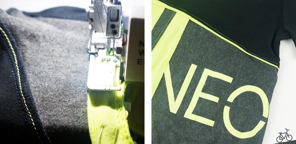 Saumpaspel mit der Overlock annähen und ein Detailbild mit Saumpaspel