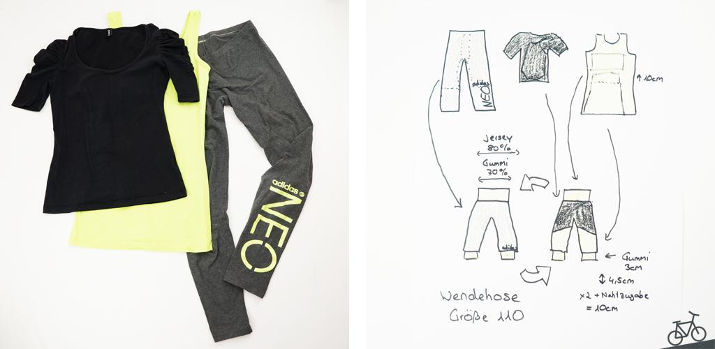 Schwarzes und neongelbes Shirt, dunkelgraue Leggings und Skizze von der Wendehose