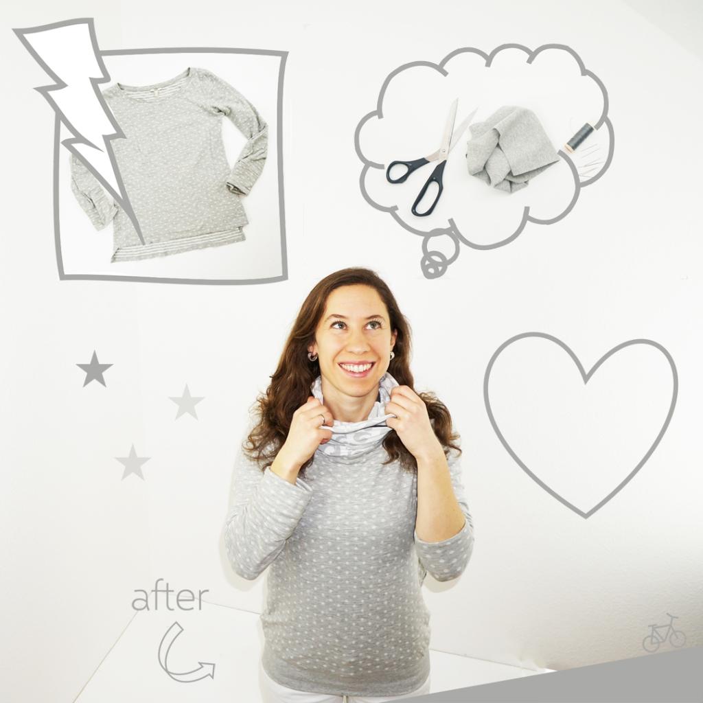 Hier siehst du einen grauen Pulli mit weißen Pünktchen und einem Bündchensaum als Comic-Darstellung.