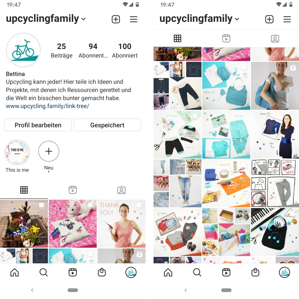 Screenshots des Instagram-Profils von Upcycling Family