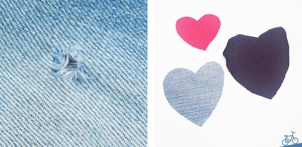 Loch in einer Jeans und Herzen aus Stoffresten in pink, lila und jeansfarben