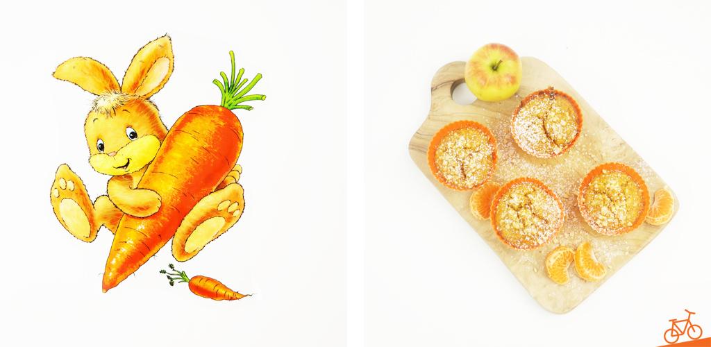 Bild eines Hasens mit Karotte sowie von den fertigen Karotten-Apfel-Muffins auf einem Holzbrett