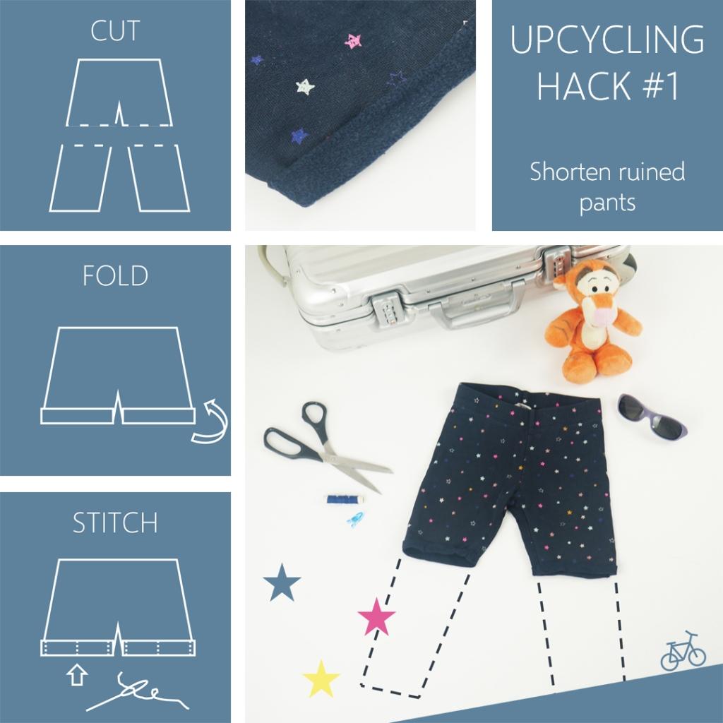 Anleitung, um aus einer kaputten Leggings eine Shorts zu machen.