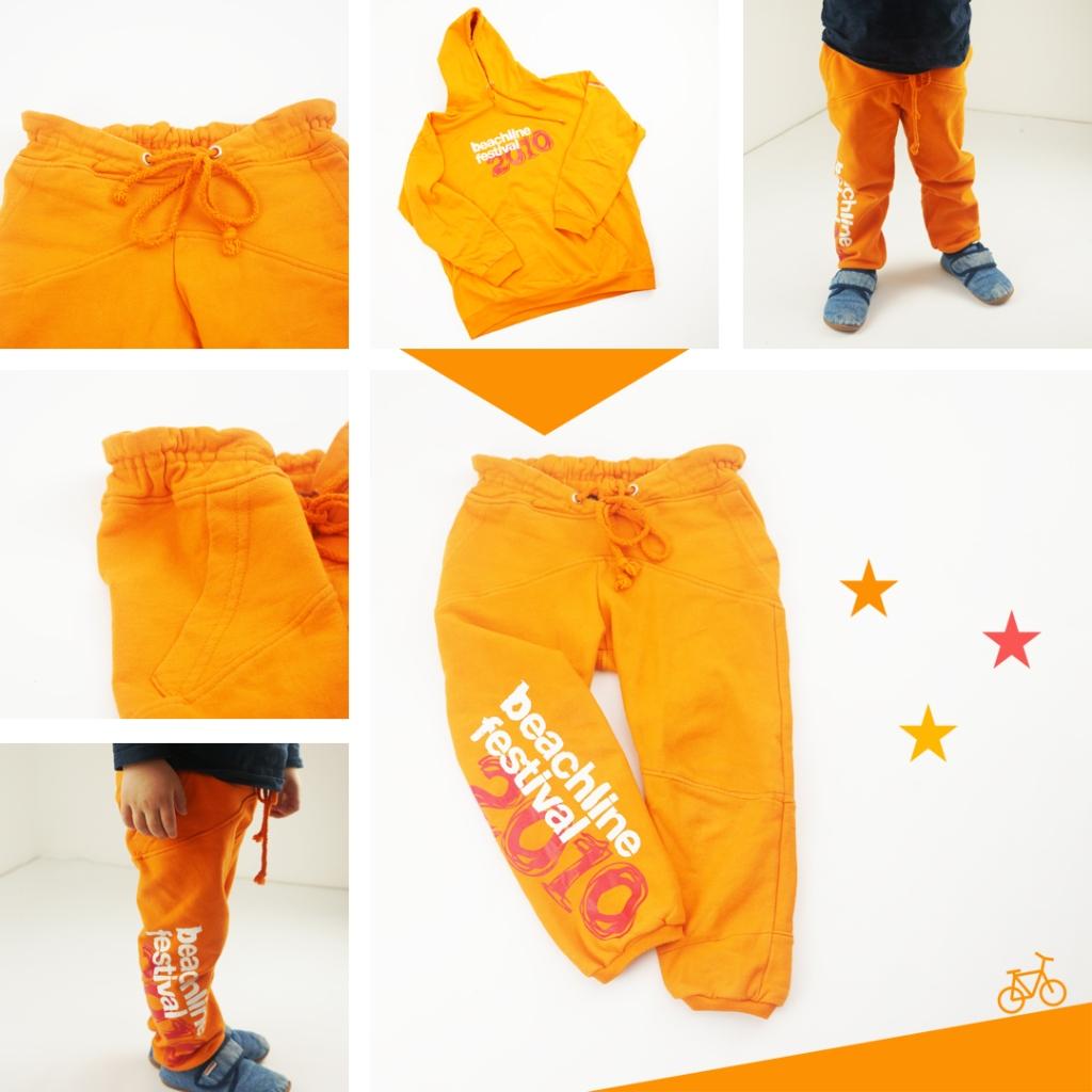 Orange Kinder-Jogginghose aus altem Hoodie Upcycling
