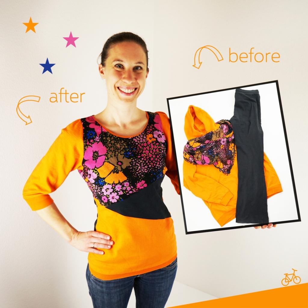 Bild mit orange farbenem Sweater in Color-Blocking in schwarz und mit Blumenmuster, upgecycelt aus drei alten Kleidungsstücken