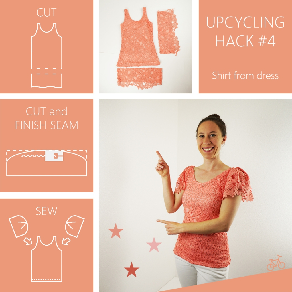 Upcycling Hack Anleitung Kleid zu Oberteil verändern mit Ärmeln