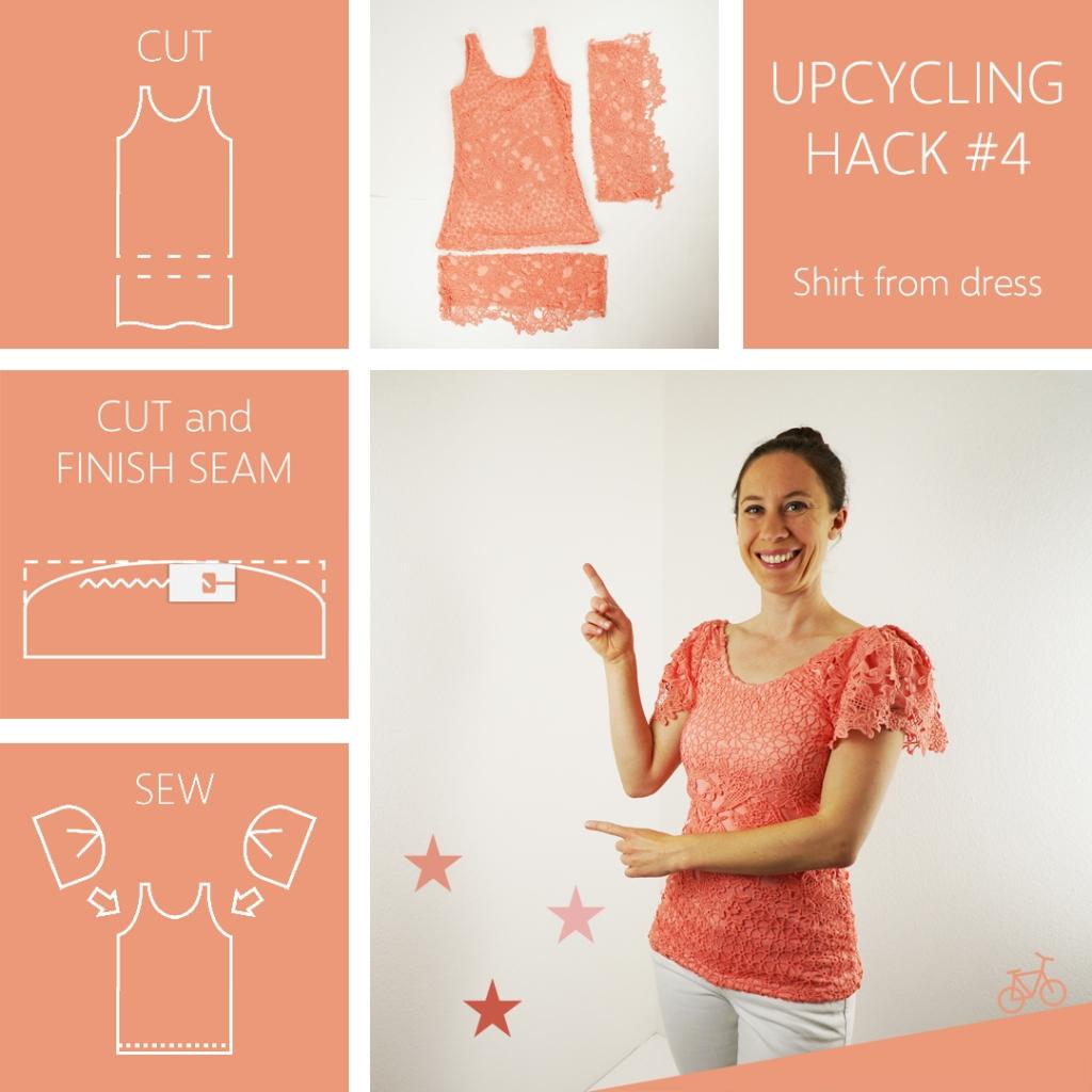 In drei Schritten aus einem zu kurzen Kleid ein Oberteil mit Kellerfalte nähen.