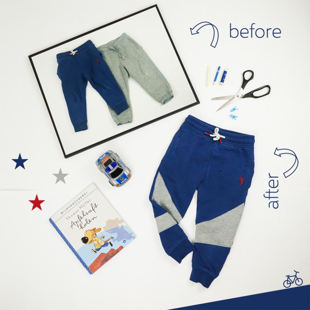 Aus einer blauen und einer grauen Jogginghose wird eine neue Hose.