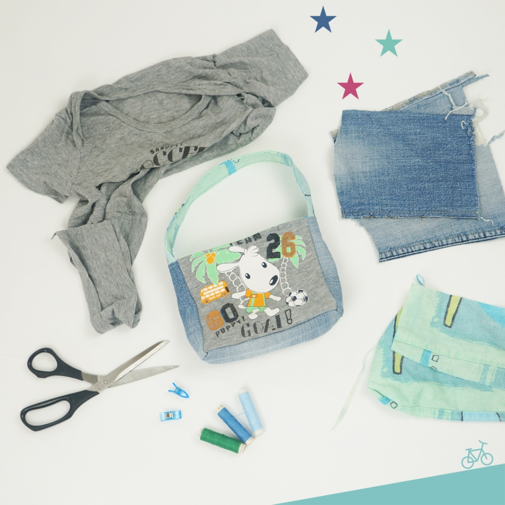 Kinder-Geburtstagstasche, das Upcycling-Shirt, die Stoffe und das Nähmaterial
