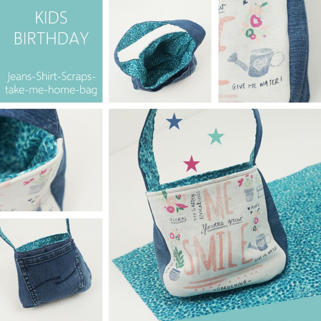 Kleine Kindertasche von vorne, hinten, innen und Details