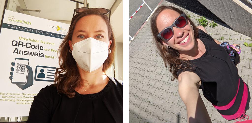 Frau mit Maske vor dem Schnelltest-Zentrum, sowie auf dem Weg zur Arbeit bei sommerlichen Temperaturen