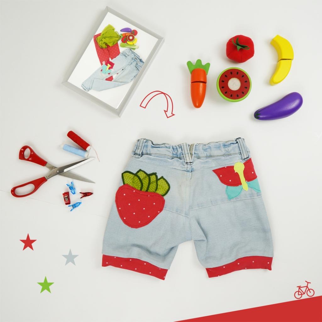 Kindershorts aus Jeans mit Erdbeere und Schmetterling Applikationen