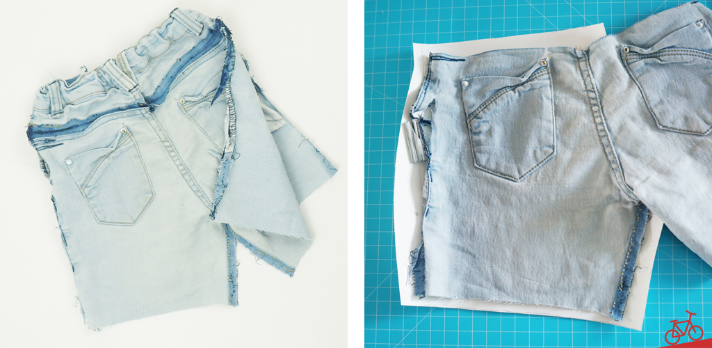 Aufgetrennte Jeans, aus der ein Schnittmuster gemacht wird.