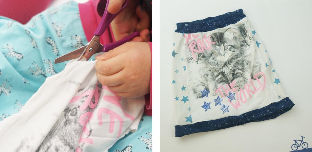 Kind schneidet Stoff mit Schere für Upcycling, Rock als Ergebnis des gemeinsamen Projekts