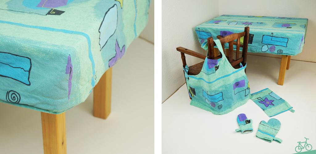 Tischdecke für Kindertisch Upcycling aus alter Bettwäsche, passend zu Schürze, Backhandschuhen und Handtuch