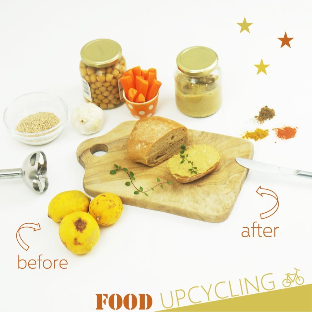 Brötchen mit Hummus, Zitronen, Gewürzen, Sesam, Kichererbsen, Karotten und Knoblauch, Stabmixer