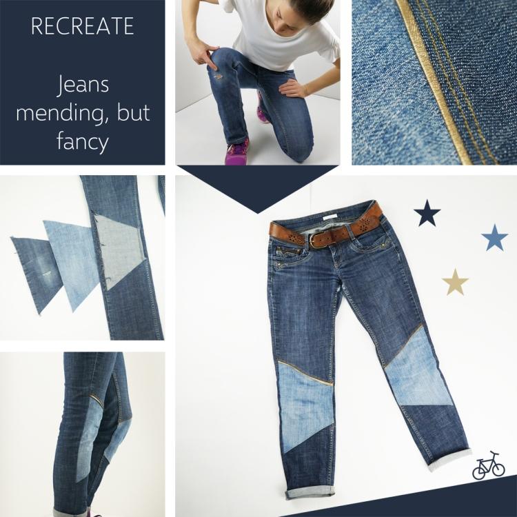 Verschiedene Schritte um Jeans für Erwachsene zu flicken