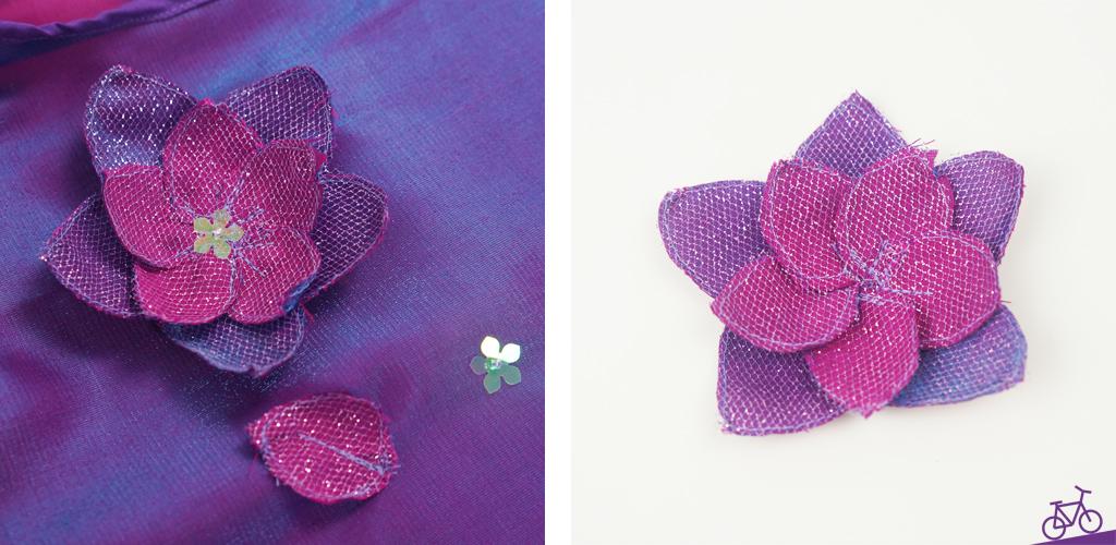 Blumenapplikation nähen aus Stoffresten, Pailletten und Organza in lila für Festkleid