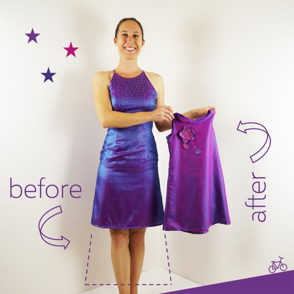 Mädchenkleid aus Abiballkleid-Rest in lila