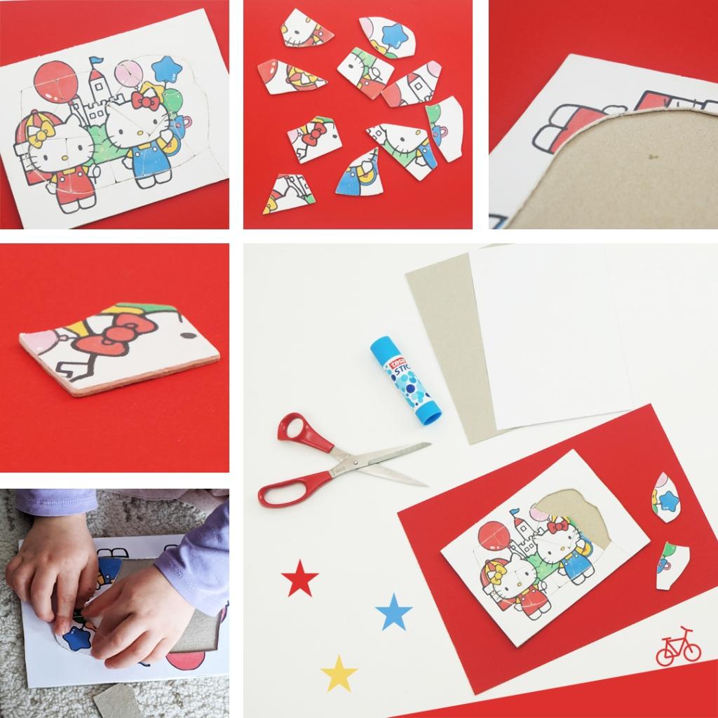 Selbst gebasteltes Hello Kitty Puzzle für Kinder